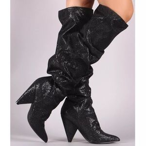 Shoes - Black glitter slouchy knee high cone heel boot